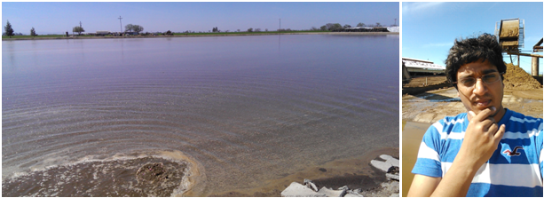 Anaerobic lagoon receiving flushed dairy manure (left); Pramod Pandey (fiber separation behind) (right) (photo credit: Pramod Pandey)